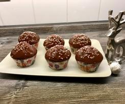 Wintermuffins mit gebrannten Mandeln und Nougatkern