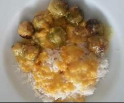 Rosenkohl an Orangen-Sahne-Soße mit Reis