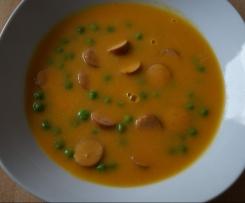 Karottencremesuppe mit Erbsen und Würstchen, WW tauglich