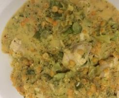 Curry mit Linsen, Brokkoli und Hähnchen