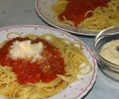Tomaten Mozzarella Sauce zu Spaghetti