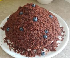 Ruck-Zuck Maulwurfkuchen mit Banane und Blaubeeren