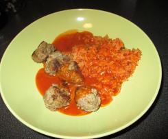 Hackbällchen mit Reis und Tomatensoße - All-in-One