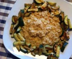 Ziegenkäse-Ebly-Risotto mit gebratenen Zucchini