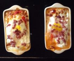 Baked Eggs mit Ziegenfrischkäse