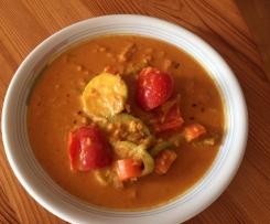 Thai-Curry rot mit Gemüse (und Garnelen)