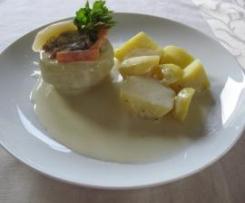 Kohlrabi, mit Gemüse und Hähnchenbrust gefüllt