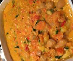 Kichererbsencurry mit Hähnchenfleisch (Variation von Kichererbsencurry vegan)