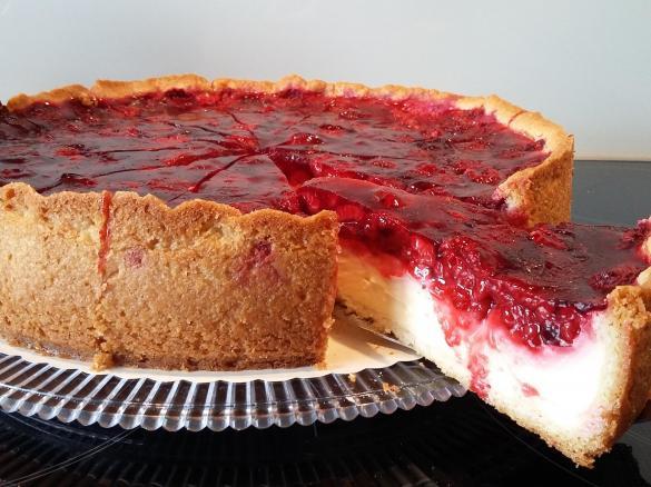 Pudding Schmand Kuchen Mit Himbeertopping Von Berna03 Ein Thermomix