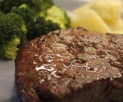 Steak medium mit Kartoffel und Brokkoli