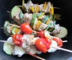 Hähnchenspieße mit Reis und Frischkäsesoße