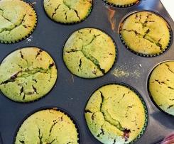 Matcha-Muffins mit Schokoladenstückchen Fructose-, Lactose-, und Glutenfrei
