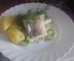 Dillgurken mit Kabeljau und Salzkartoffeln