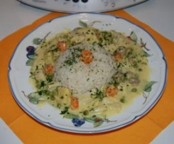 All-In-Menue Hühnerfrikassee mit Ananas und Curry, schnell und lecker