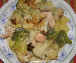 Lachs-Blumenkohl-Broccoli-Auflauf (mal ohne Käse) m. Orig.