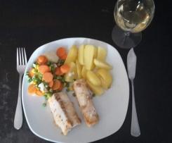 gedünsteter Kabeljau à la Händlmaier's an Salzkartoffeln und Kaisergemüse