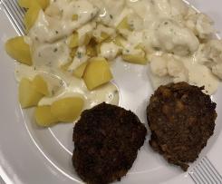 Kartoffeln und Blumenkohl mit Käsesoße