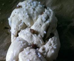 Hefezopf ohne Ei mit oder ohne Rosinen