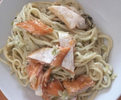 Spaghetti in Fenchel-Sahne-Soße mit Stremellachs (HelloFresh Box)