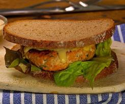Lachsburger mit Sweet-Chili-Mayonnaise