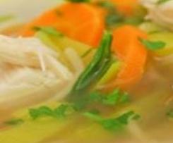"""Hühnersuppe – dem Schnupfen ein Schnippchen – mit der """"Gemüse-/Reis-Option"""""""