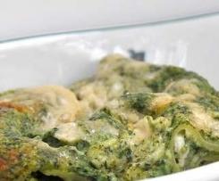 Lasagne vegetarisch mit Spinat/Mozzarella (ohne Tomaten)