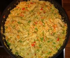"""Low Carb """"Reis""""- Pfanne mit Putengeschnetzelten"""