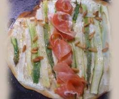 Spargel-Flammkuchen (histaminarm und ggf. vegetarisch)