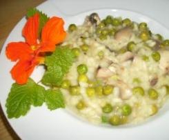 Erbsen- Champignon- Risotto mit Zitronenmelisse