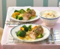 Gerrys leichtes Abendessen: Schweinefilet mit Brokkoli und Ananas