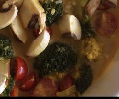 Tom Yam Gung vegetarische Suppe sehr scharf