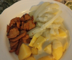 Variation Kohlrabigemüse mit Kartoffeln und heller Soße (vegan)