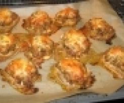 Variation Überbackene Brötchen mit Hackfleisch und Paprika