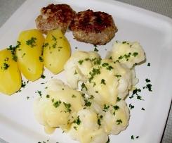 Frikadellen mit Blumenkohl, Kartoffeln und Senfsauce (Kollektion, Studiküche)