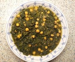 Palak - Indischer Spinat mit Kichererbsen, vegan