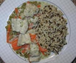 Fisch-Ragout mit Reis